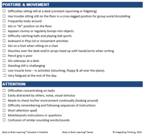 Body to Brain Learning Educator's Checklist sample